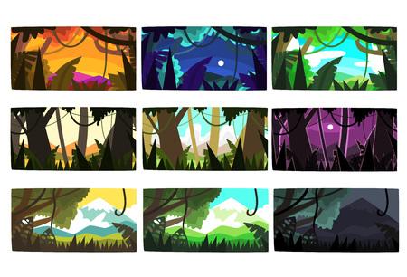 Tropische Dschungellandschaften stellten in verschiedene Tageszeiten bunte horizontale Vektor Illustrationen ein