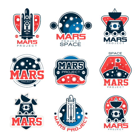 spacesuit: Mars project labels set, Mars colonization program vector Illustrations on a white background Illustration