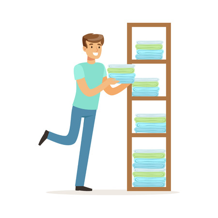 Young smiling man putting linen on shelves, house husband working at home vector Illustration