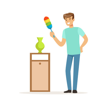 Young smiling man wiping dust at home, house husband cleaning home vector Illustration on a white background