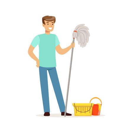 水のモップとバケツで床を掃除する若い笑顔の男、家の夫は自宅で作業ベクトルイラスト