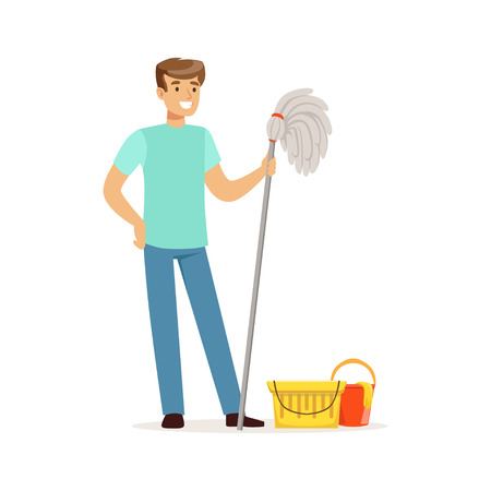 guy standing: Young smiling man cleaning the floor with a mop and bucket of water, house husband working at home vector Illustration