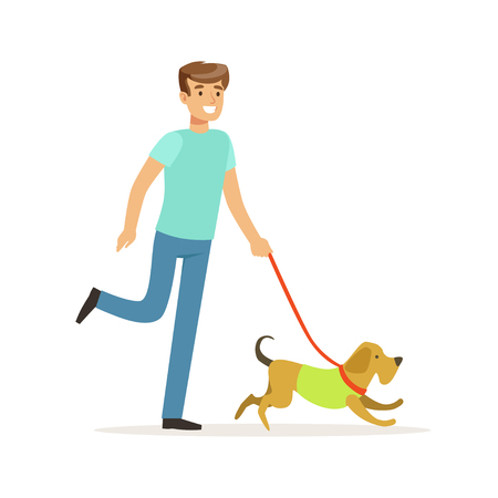 Young smiling man walking a dog vector Illustration on a white background Çizim