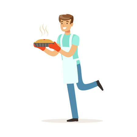 Young smiling man holding fresh baked pie, house husband working at home vector Illustration on a white background