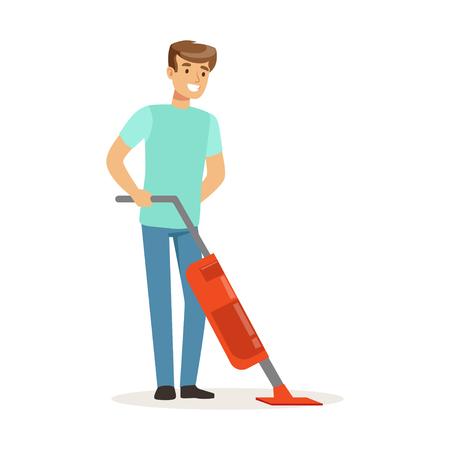 Jonge glimlachende mens die de vloer met stoomzwabberreinigingsmachine, huiseigenaar schoonmaken die thuis vectorillustratie op een witte achtergrond werken