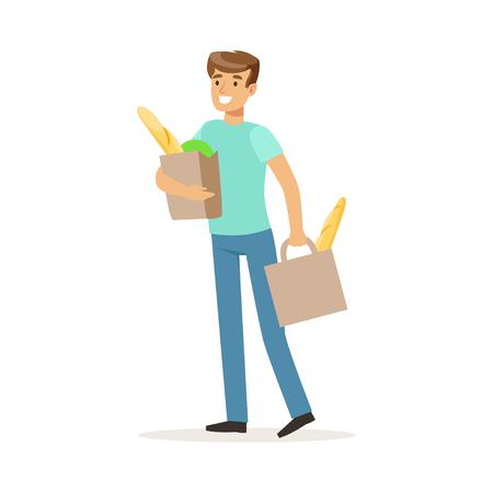 mujer en el supermercado: Hombre sonriente joven que lleva dos bolsas con productos alimenticios, esposo de la casa de compras en la tienda de comestibles vector Ilustración sobre un fondo blanco Vectores