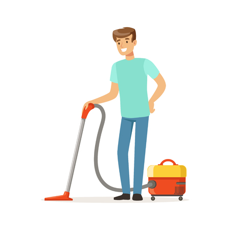 Young smiling man cleaning the floor with vacuum cleaner, house husband working at home vector Illustration on a white background