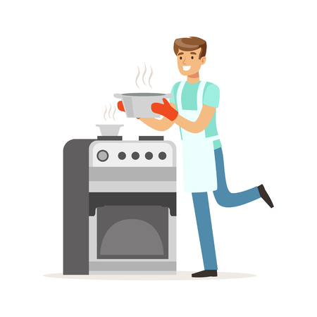 Young smiling man cooking in the kitchen, house husband working at home vector Illustration on a white background Illustration