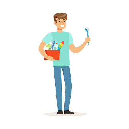 Young smiling man cleaning his home, house husband working at home vector Illustration on a white background