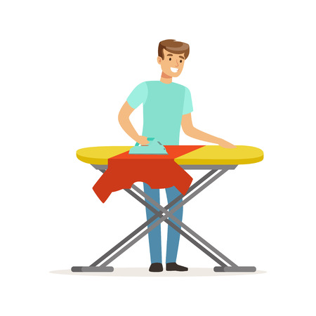Young smiling man ironing clothes on ironing board, house husband working at home vector Illustration