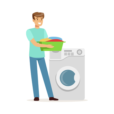 Young smiling man doing laundry, holding basin full of dirty laundry, house husband working at home vector Illustration Çizim