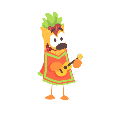Funny cartoon fajita wrap character, mexican traditional humanized food in traditional clothes playing guitar vector Illustration on a white background Illustration
