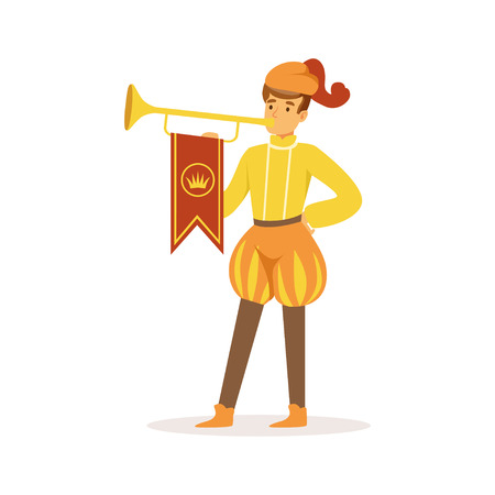 Herald tocando una trompeta, personaje medieval europeo en traje tradicional vector colorido Ilustración sobre un fondo blanco Foto de archivo - 85578683