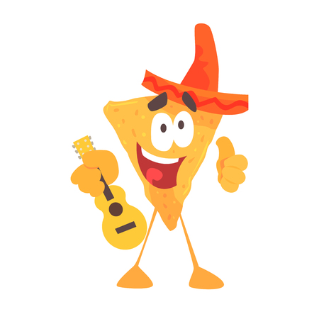spicy mascot: Funny cartoon Mexican nachos chip character wearing sombrero hat, traditional humanized food in traditional clothes playing guitar vector Illustration on a white background