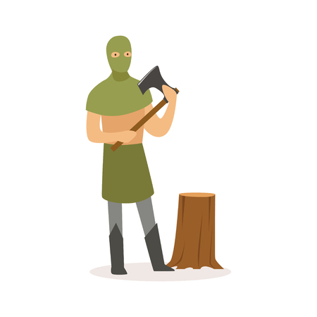 Executioner standing with axe, European medieval character in traditional costume colorful vector Illustration on a white background