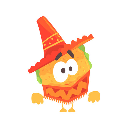 Funny cartoon Mexican taco character wearing poncho and sombrero hat, traditional humanized food in traditional clothes vector Illustration on a white background
