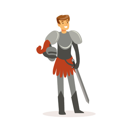 Smiling knight standing with sword, European medieval character colorful vector Illustration on a white background