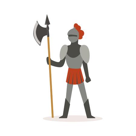 Volledig het pantserkostuum van de ridderkostuum die zich met bijl, Europese middeleeuwse karakter kleurrijke vectorillustratie op een witte achtergrond bevinden