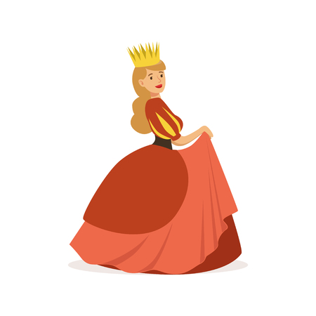 Beautiful majestic queen or princess in red dress and gold crown, fairytale or European medieval character colorful vector Illustration on a white background 向量圖像
