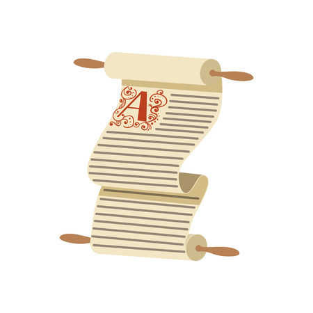 Old medieval scroll vector Illustration on a white background