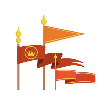 Medieval royal flag set colorful vector Illustrations on a white background Illustration