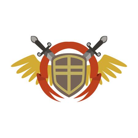 Stemma medievale con spade e ali incrociate, vettore colorato Illustrazione su uno sfondo bianco Archivio Fotografico - 85578850