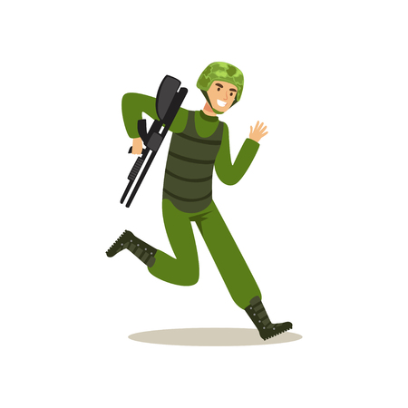 Infantry troops soldier character in camouflage combat uniform running with weapon vector Illustration on a white background