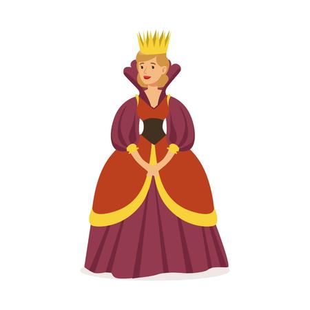 Majestätische Königin in der purpurroten Kleid- und Goldkrone, in der bunten Vektor Illustration des Märchen oder des europäischen mittelalterlichen Charakters auf einem weißen Hintergrund