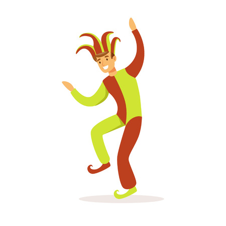 Nar het dansen, Europees middeleeuws karakter in traditionele kostuums kleurrijke vectorillustratie op een witte achtergrond Stock Illustratie