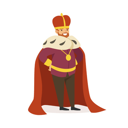 Majestic emperor in red ermine mantle, fairytale or European medieval character colorful vector Illustration on a white background Ilustração