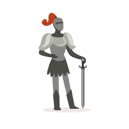 Knight full body armor suit standing with sword, European medieval character colorful vector Illustration on a white background