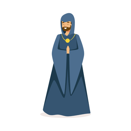 European medieval Catholic monk character colorful vector Illustration on a white background Banco de Imagens - 85578860