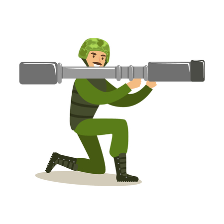 Infantry troops soldier character in camouflage combat uniform standing on one knee with rocket launcher ready to shoot vector Illustration on a white background
