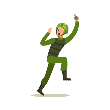 Infantry troops soldier character in camouflage combat uniform running with hand grenade vector Illustration on a white background Illustration
