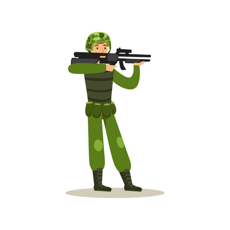 Infantry troops soldier character in camouflage combat uniform holding an automatic assault rifle vector Illustration Illustration