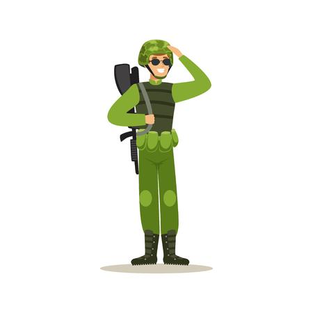 보병 군인 위장 전투 유니폼 손을 경례 벡터 일러스트 레이션에 군인 캐릭터