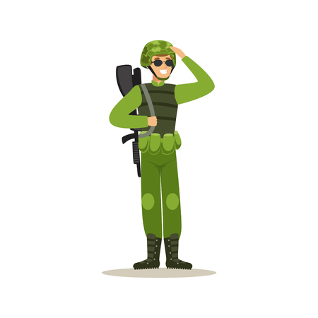 Infantry troops soldier character in camouflage combat uniform doing a hand salute vector Illustration Ilustração