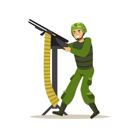 보병 병사 군인 캐릭터 위장 전투 유니폼 기관총 벡터 일러스트에서 촬영