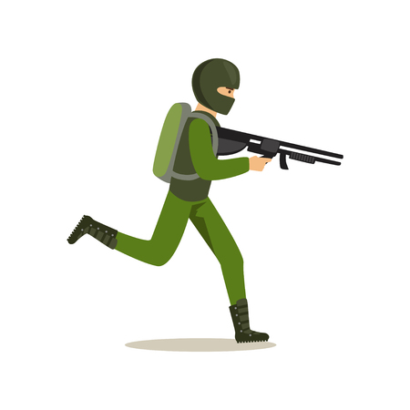 Infantry troops soldier character in camouflage combat uniform running with automatic assault rifle vector Illustration Ilustração