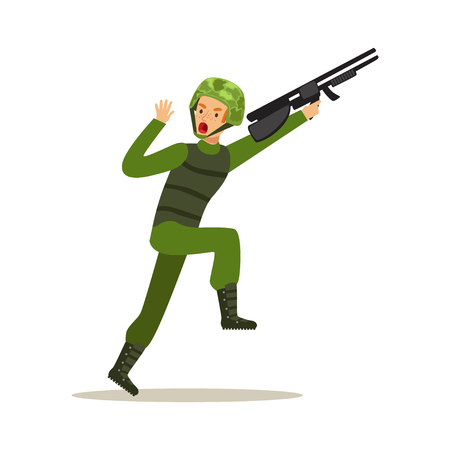 Infantry troops soldier character in camouflage combat uniform running with assault rifle vector Illustration