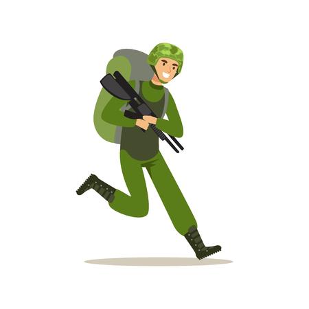 위장 전투 유니폼과 무기 벡터 일러스트와 함께 실행하는 배낭에서 보병 병사 캐릭터