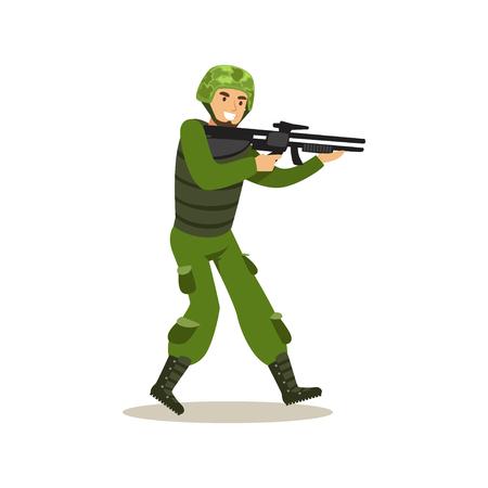 ●ベクトルイラストを撮影する準備ができた迷彩戦闘ユニフォームで歩兵部隊兵士キャラ