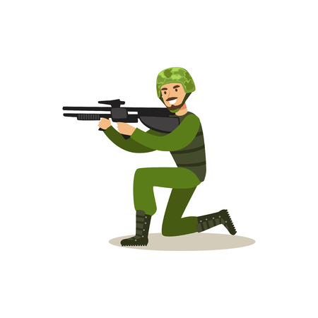 Infantry troops soldier character in camouflage combat uniform standing on one knee aiming with automatic assault rifle vector Illustration Çizim