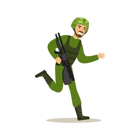 자동 위장 소총 벡터 일러스트와 함께 실행하는 위장 전투 유니폼에 보병 병사 캐릭터
