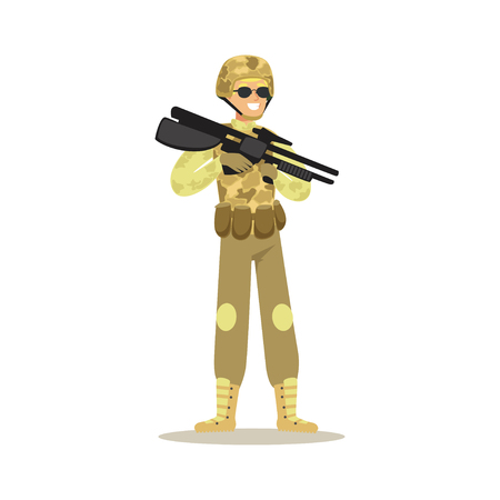Soldier character wearing camouflage uniform holding automatic assault rifle vector Illustration
