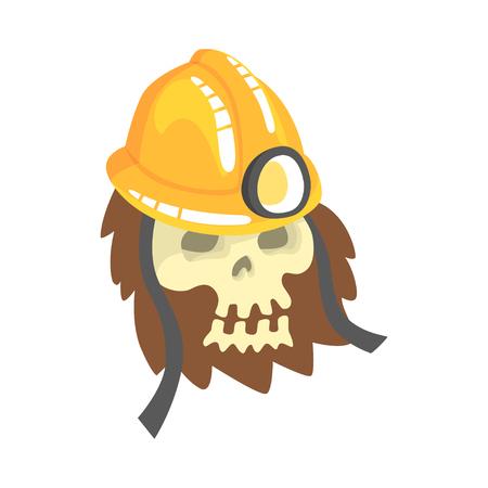 地面漫画のベクトルイラストレーションに横たわっている鉱山のヘルメットを身に着けている人間の頭蓋骨