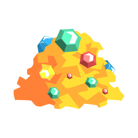 Pile of gold and precious stones, mining industry equipment cartoon vector Illustration