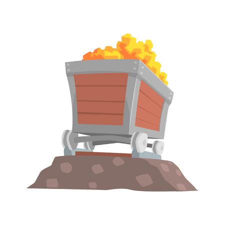 Retro houten wagen met goud erts, mijnbouw-industrie cartoon cartoon vector illustratie