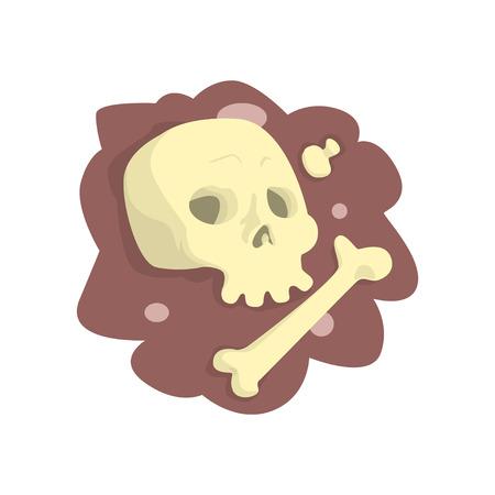 頭蓋骨と骨が地面に横たわっている漫画のベクトルイラスト  イラスト・ベクター素材