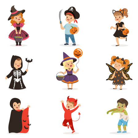 ute little kids in colorful halloween costumes set, Halloween children trick or treating vector Illustrations